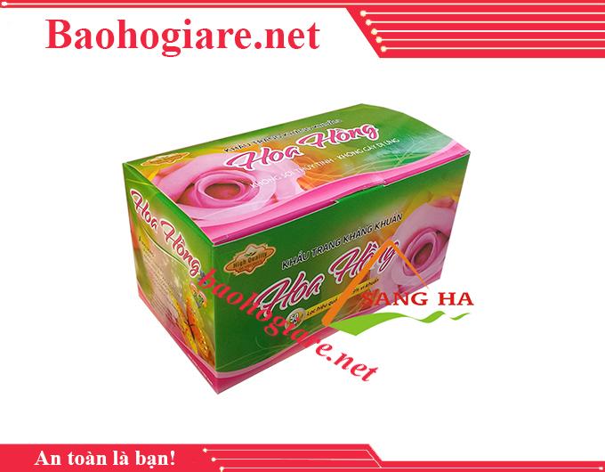 Khẩu trang y tế 3 lớp hoa hồng